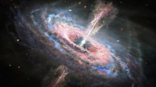 An illustration of a quasar blasting a jet of hot, radioactive wind into the cosmos.