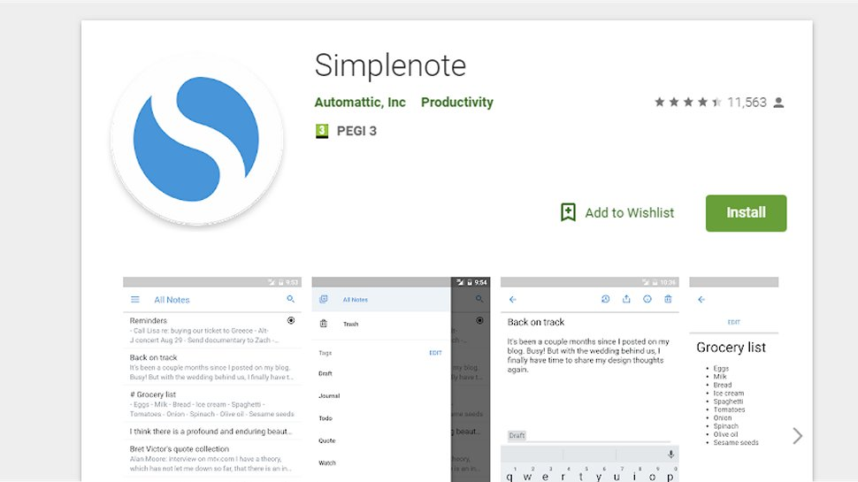 Simplenote - A simple notepad application
