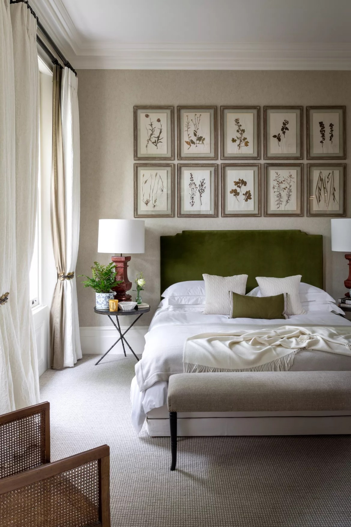 botanical art prints above bed in bedroom by Kitesgrove