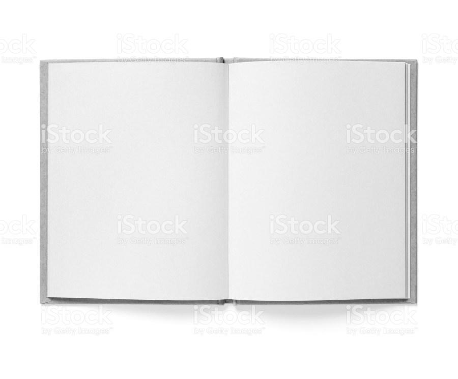 Blank open book showing spread