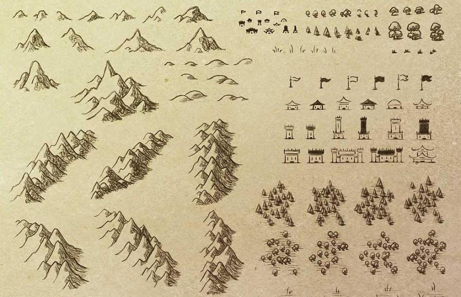 Sketchy cartography Photoshop brushes