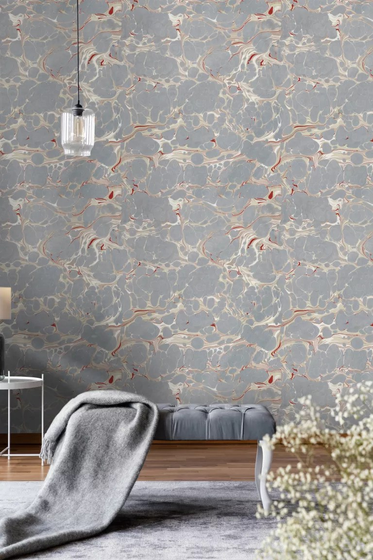 marble effect bedroom wallpaper by Dowsing & Reynolds