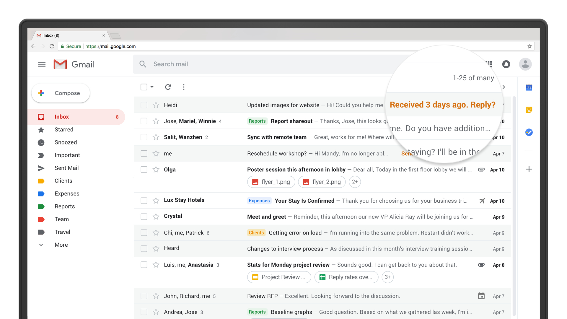 Nudging in Gmail