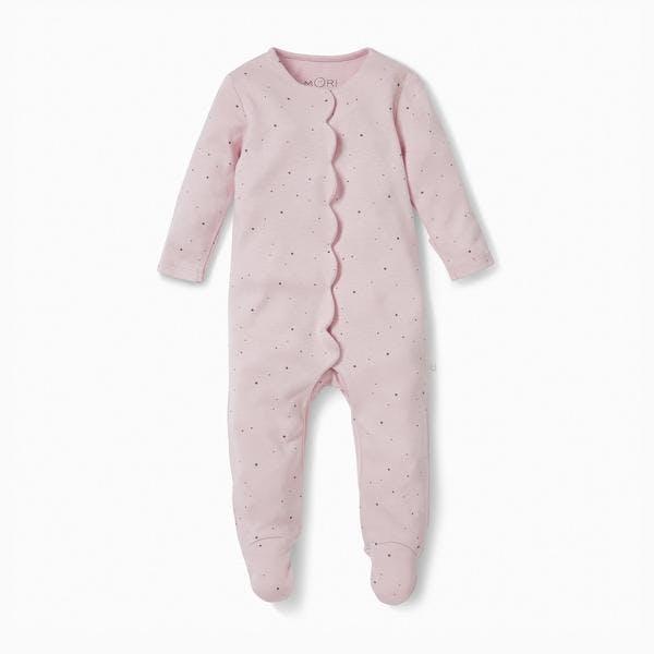 Baby Mori regal scallop sleepsuit