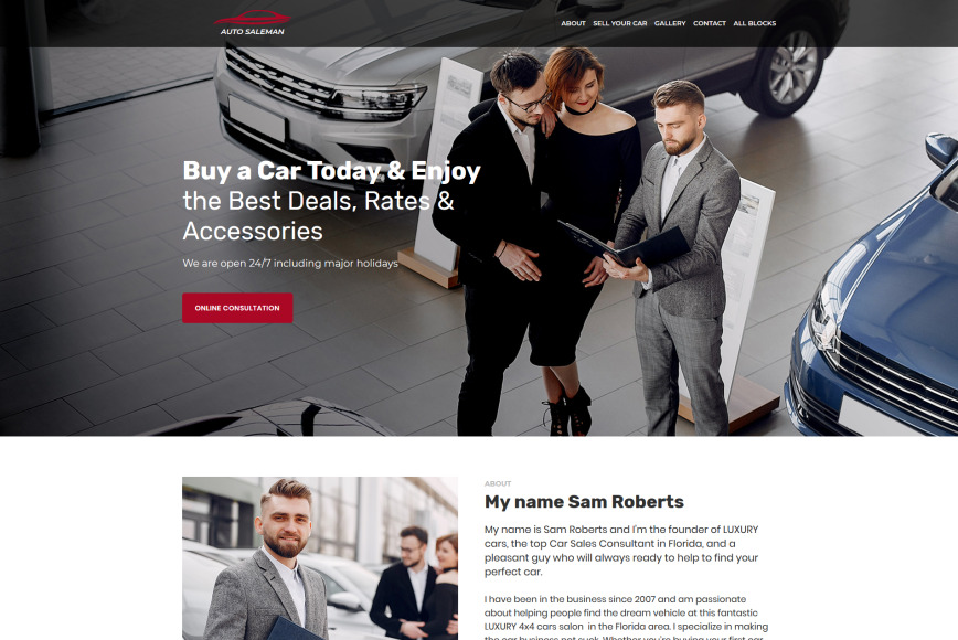 Writing a great car sales resume is an important step in your job search journey. Car Salesman Personal Website Template For Landing Motocms