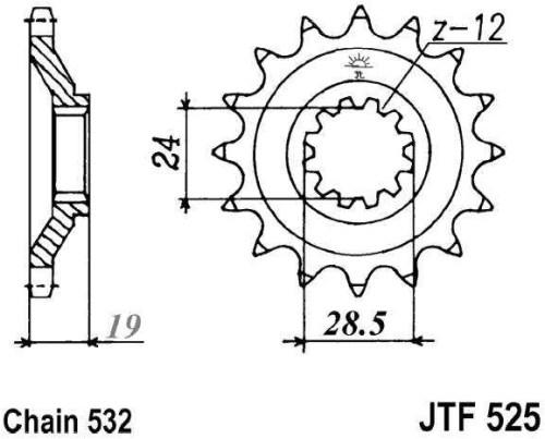 Řetězové kolečko JT JTF 525-17 17 zubů, 532 JTF525.17