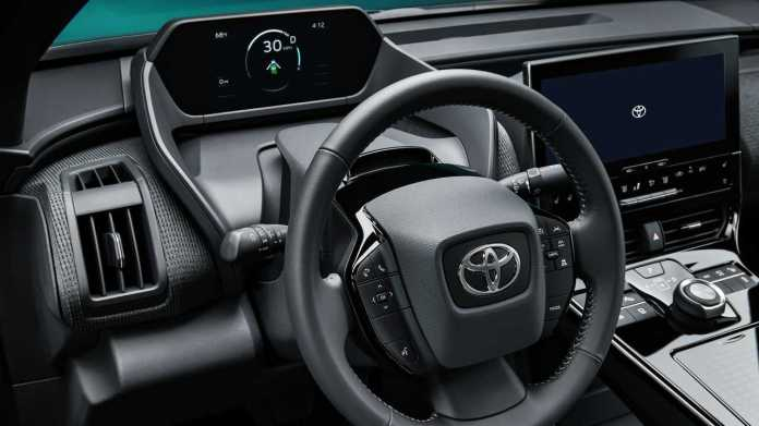 Toyota bZ4X Concept driver side dashboard, steering wheel, instruments