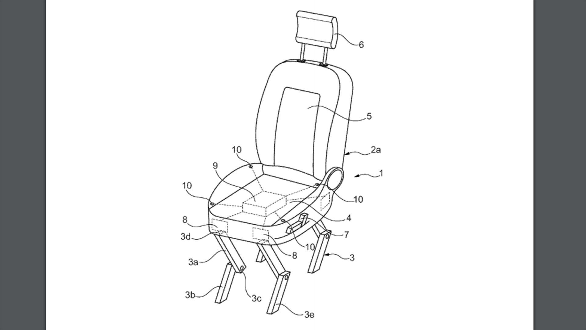 chair design patent under the weather ford redefines legs with automotive seat that can walk