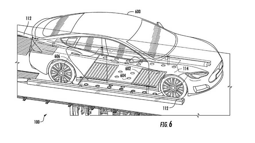 Tesla Battery Swap Patent Application Images Demonstrate