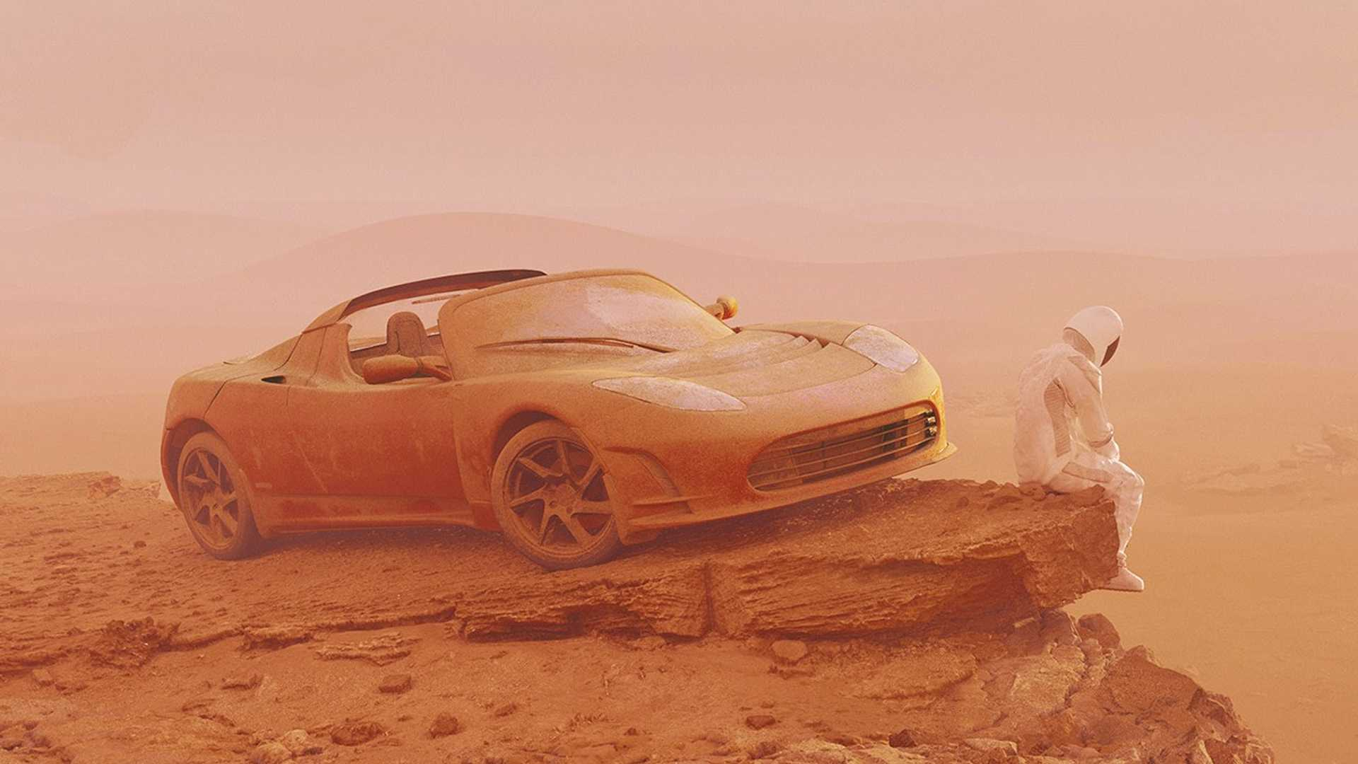 hight resolution of tesla roadster finally reaches mars in these somber renderings