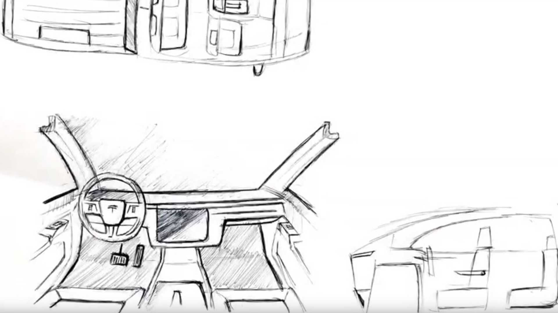 Tesla Pickup Truck Interior Sketches Combine Model 3 And