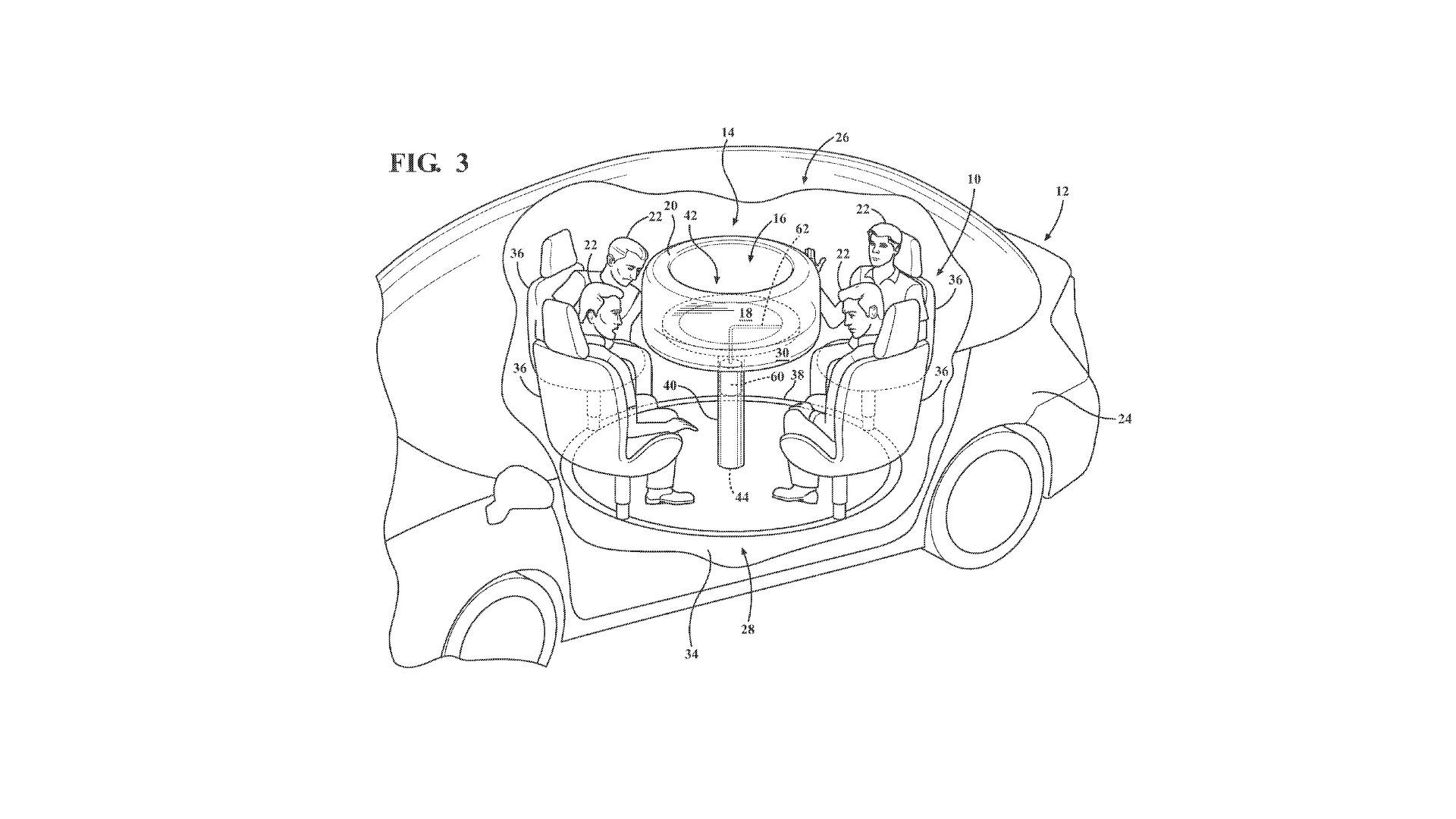 Ford Patents Retractable Table With Airbags For Autonomous