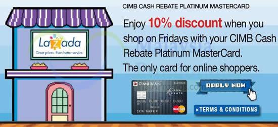 Lazada 10% OFF For CIMB Cash Rebate Platinum Mastercard Cardmembers 4 Apr 2014