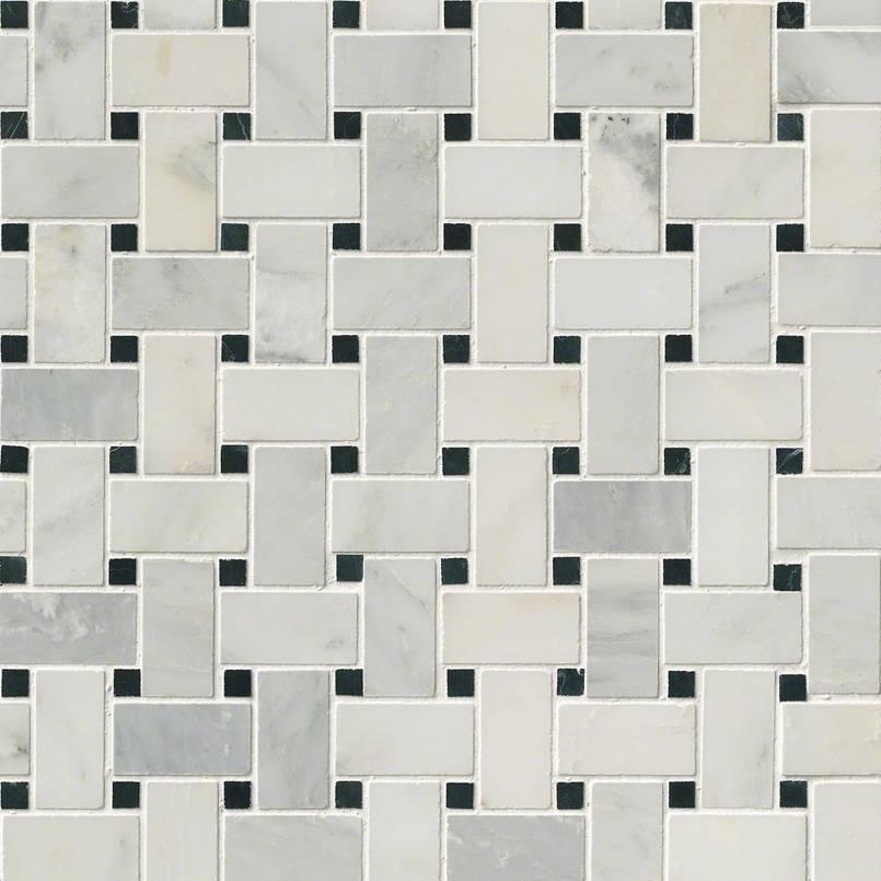 arabescato carrara basketweave tile