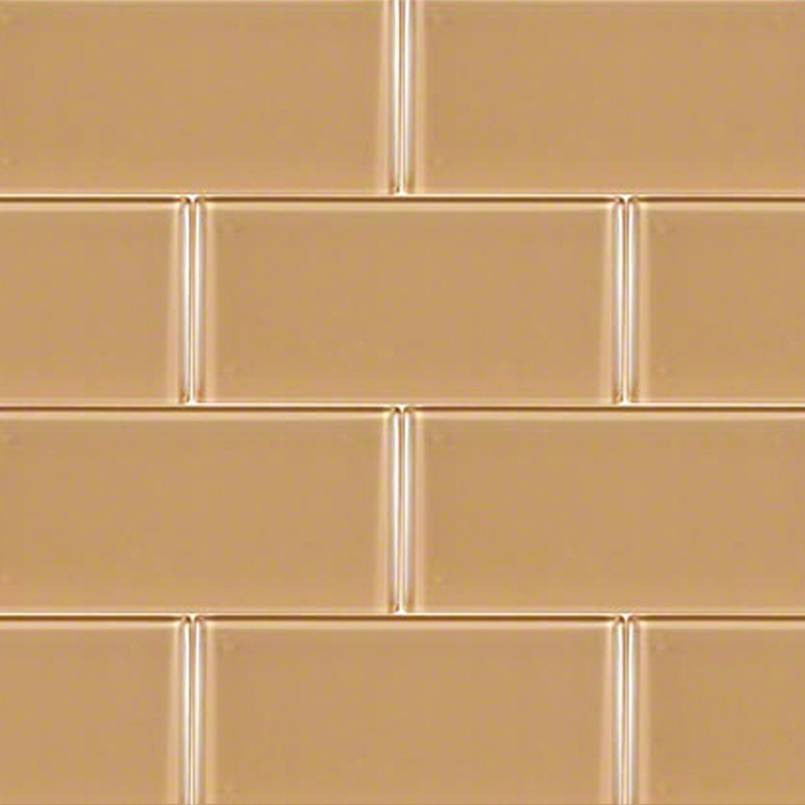 brown glass subway tile backsplash