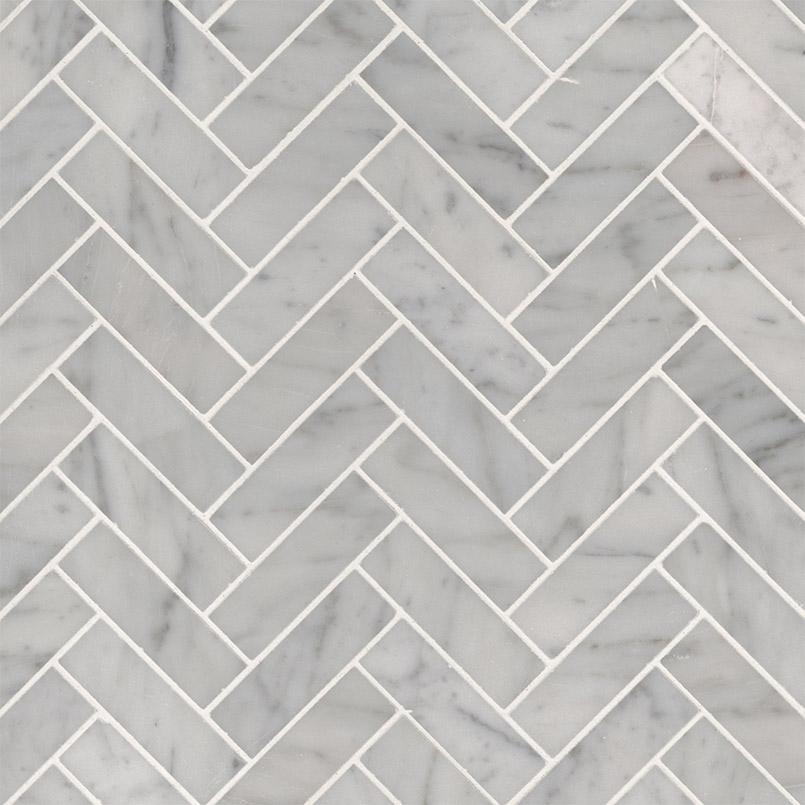 carrara white 1x3 herringbone polished backsplash tile
