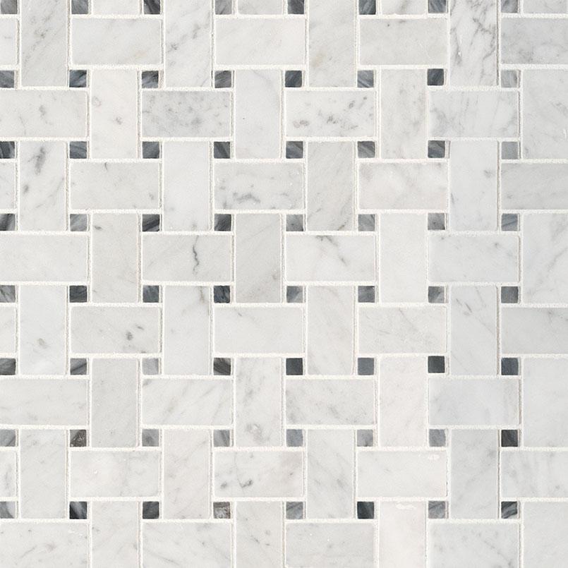 carrara white basketweave pattern honed