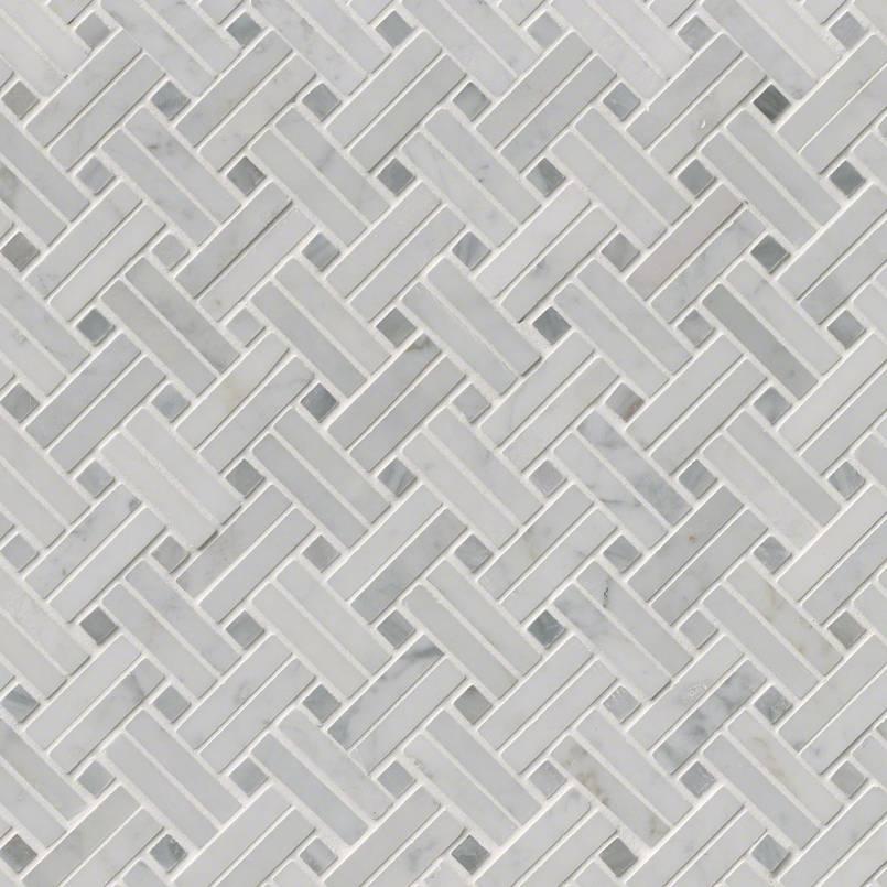 Carrara White Basketweave Pattern Polished  Mosaics