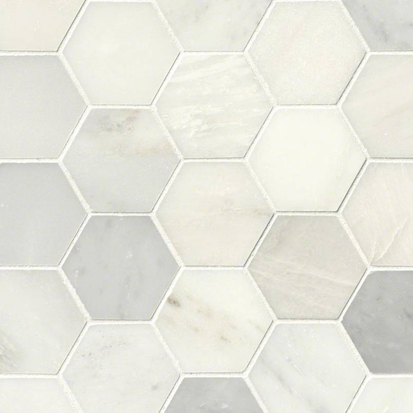 greecian white hexagon polished marble