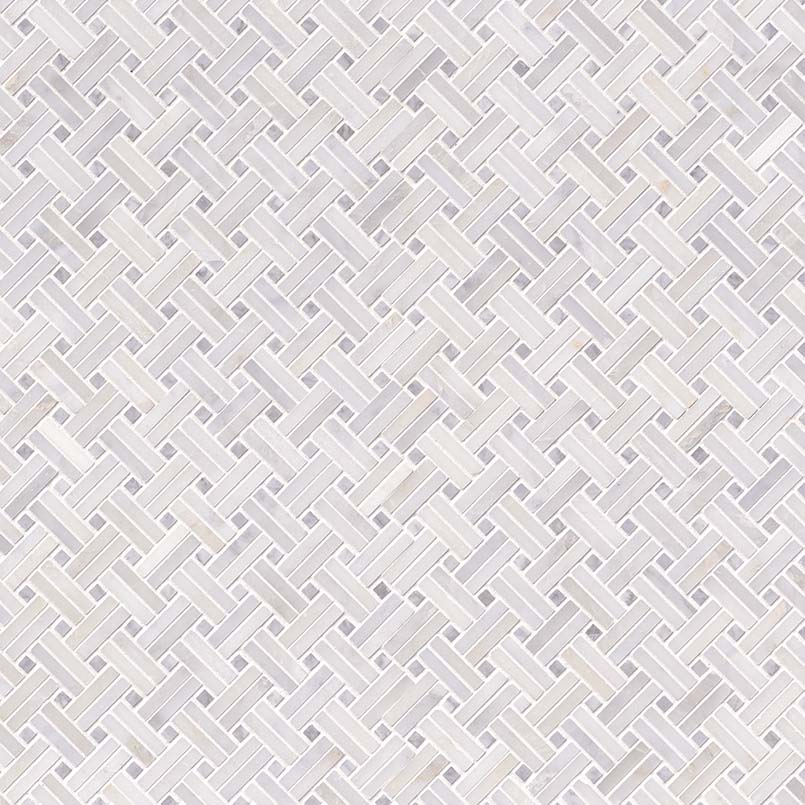 Greecian White Basketweave Pattern Polished Marble