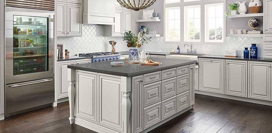 kitchen countertops quartz solid oak island msi surfaces mystic gray