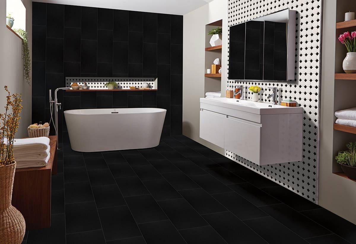 black matte octagon backsplash tile