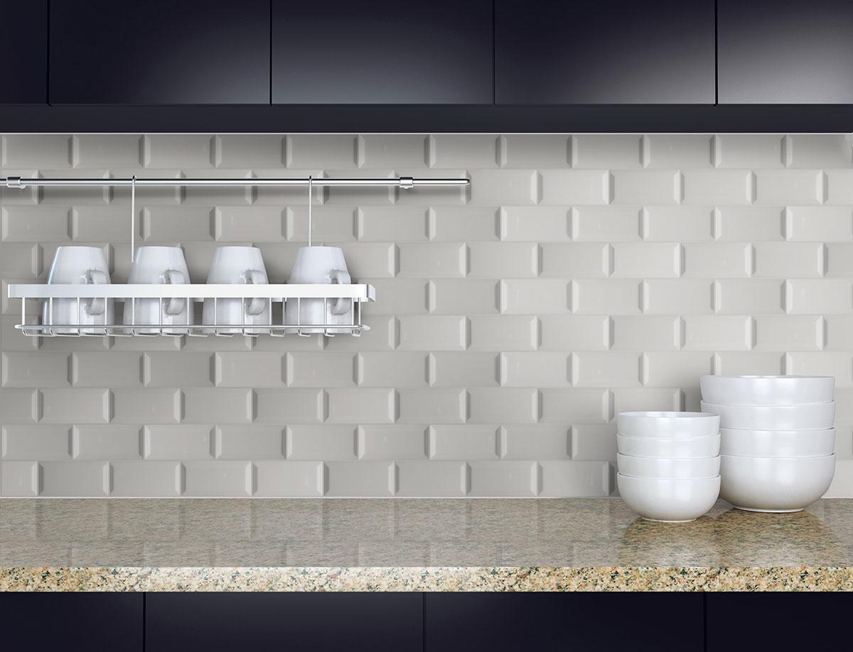 gray glossy subway tile beveled 3x6 backsplash tile wall tile