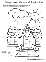 Multiplication Color By Number Christmas Worksheets