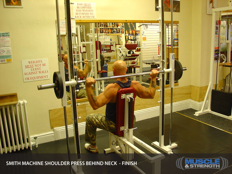 Smith Machine Shoulder Press Behind Neck Video Exercise