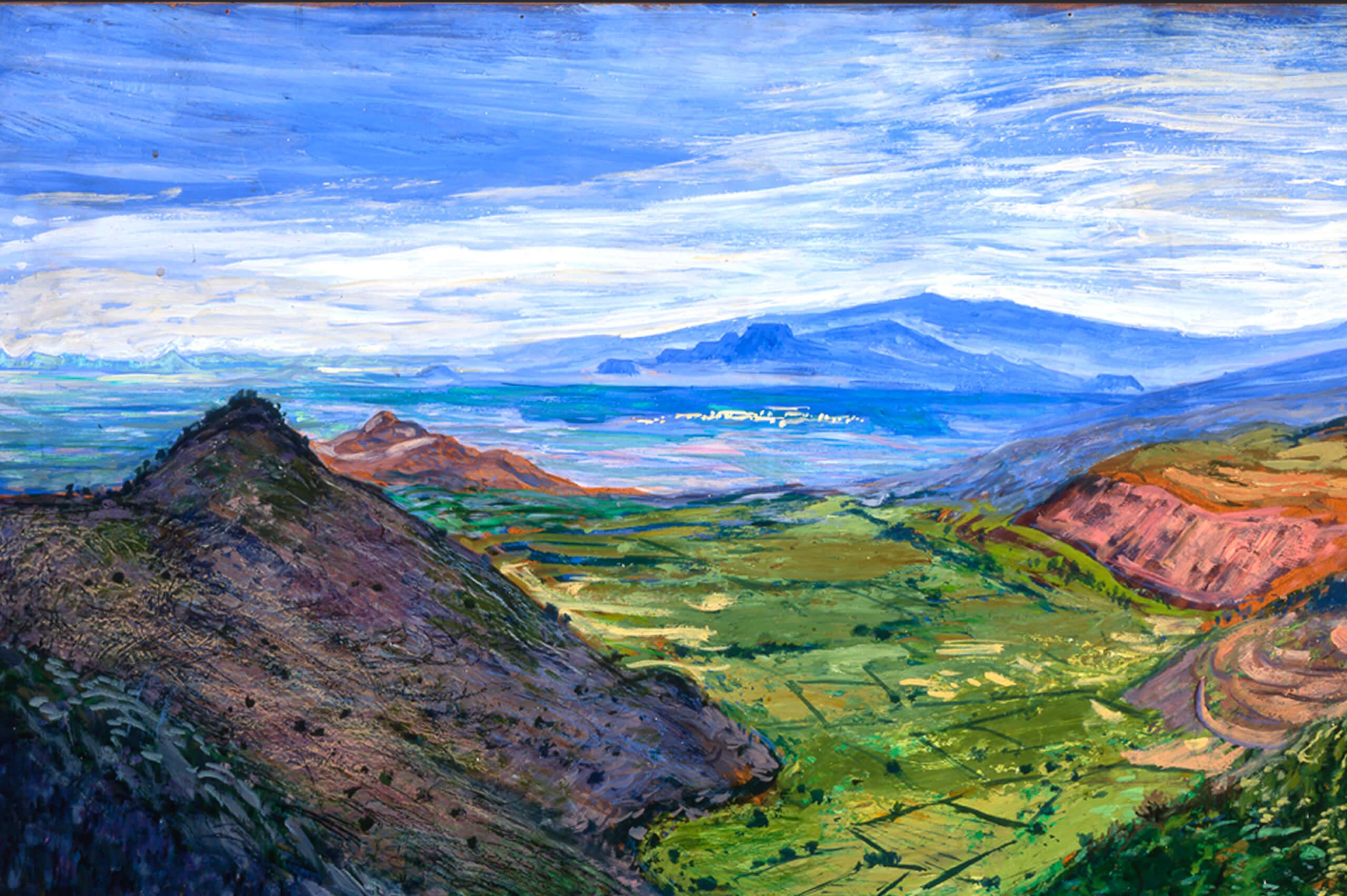 La vista de los volcanes desde el camino a Cuernavaca  Coleccin de Arte Virreinal y Siglo XIX