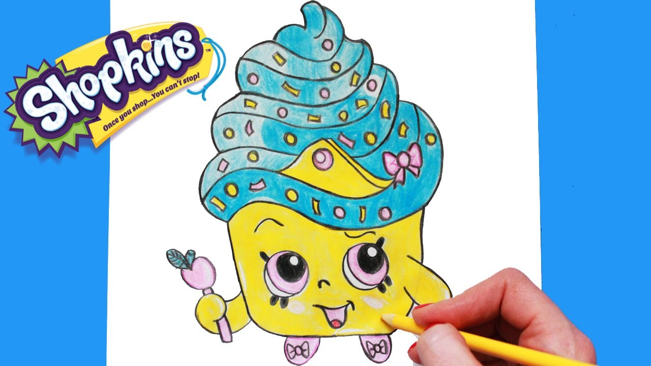 How To Draw Shopkins Season 1 Cupcake Queen Limited Edition Step By