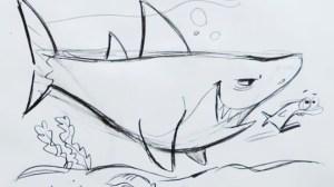 draw shark cartoon step drawing drawings hart christopher paintingvalley