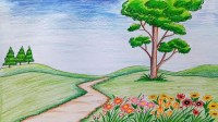 How to draw scenery of flower garden step by step (very easy)
