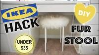 DIY FAUX FUR VANITY STOOL, IKEA HACK!!!