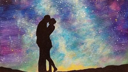 acrylic painting night easy sky galaxy starry step lovers under beginner tutorial paintings silhouette paint simple lessons acrylics skies diy