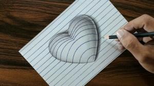 heart paper line 3d drawing easy trick very drawings diy
