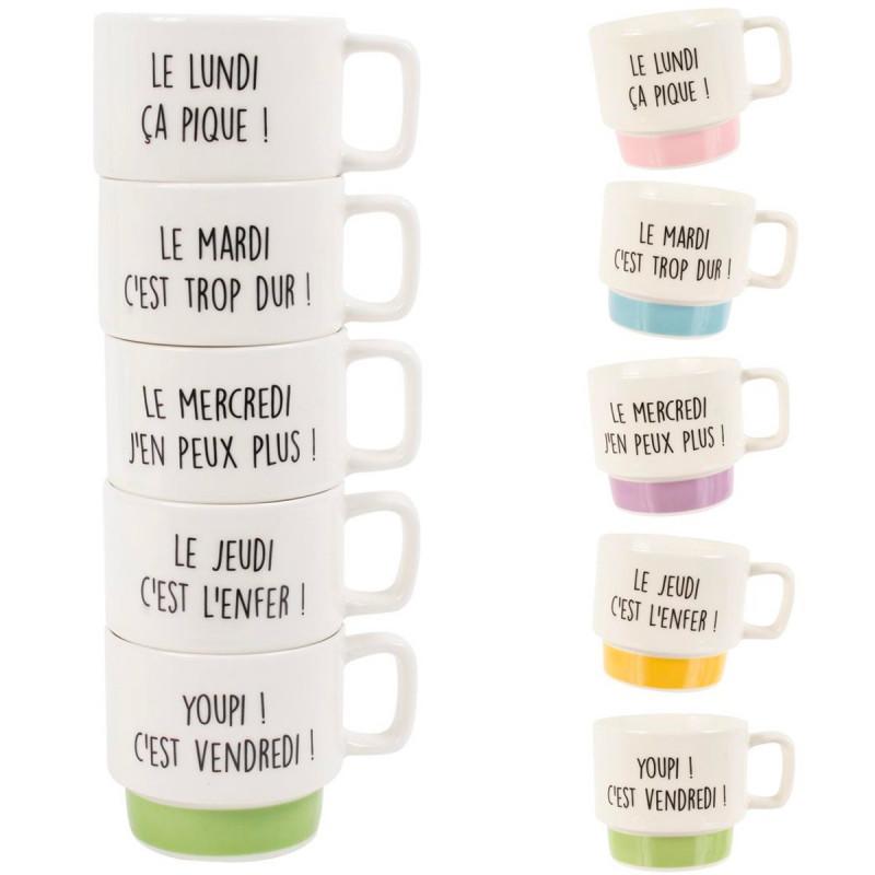 coffret 5 tasses a cafe semaine