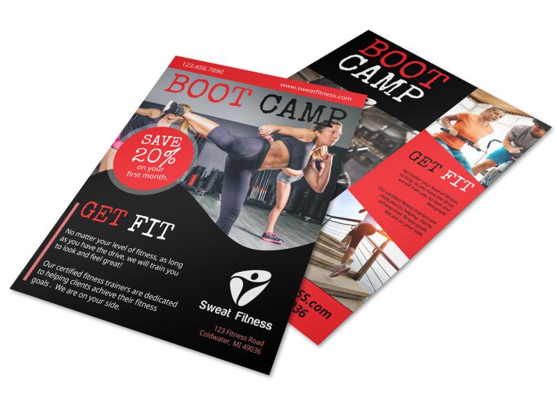 Boot Camp Fitness Promo Flyer Template   MyCreativeShop