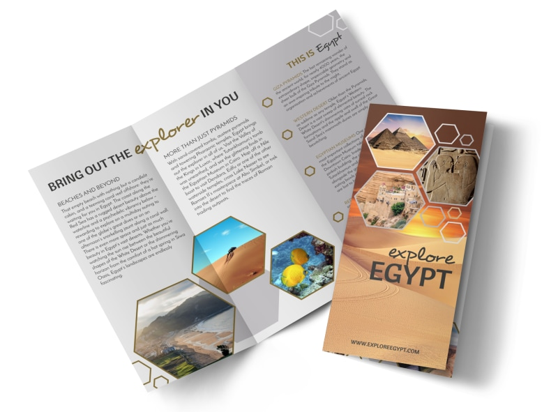 Travel Egypt Tri Fold Brochure Template MyCreativeShop