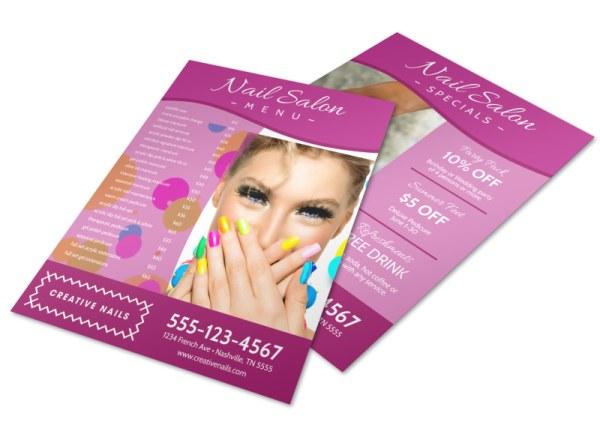 Pink Nail Salon Menu Template MyCreativeShop