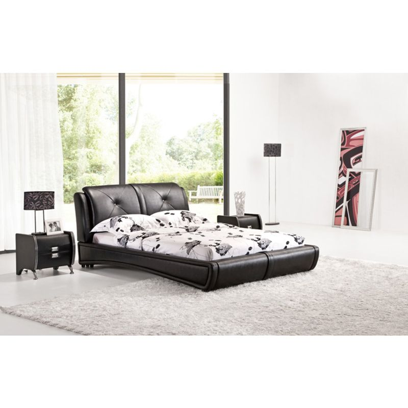 Queen Size Low Bed Frame In Black Pu Leather Buy Queen Bed Frame 61335