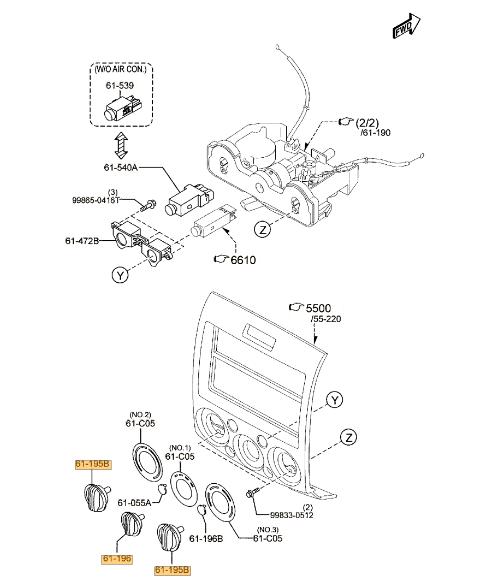 Genuine Mazda BT-50 Heater Fan Direction Control Knob Set