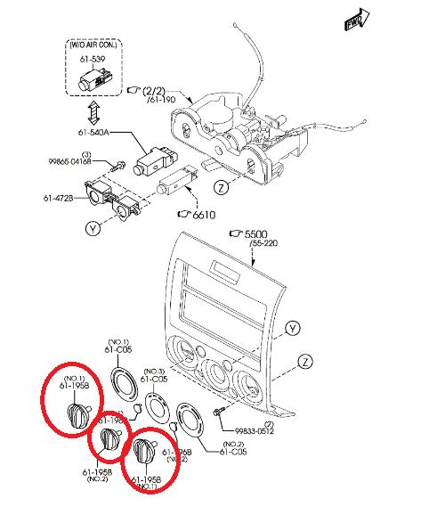 Genuine Mazda BT-50 UN Heater Fan Direction Control Knob
