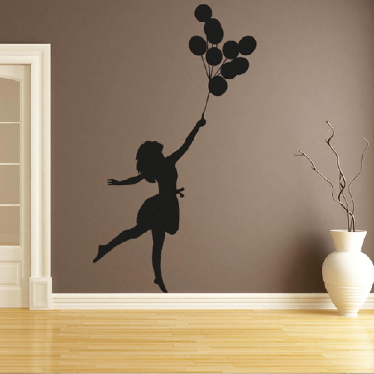 Frau mit Luftballons  Wandtattoo  Bilder  Motive