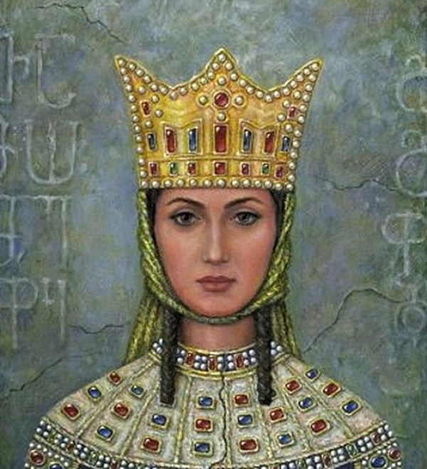 Painting of a woman (Tamara) with brown hair and eyes. A golden crown sits on her head inlayed with red and blue