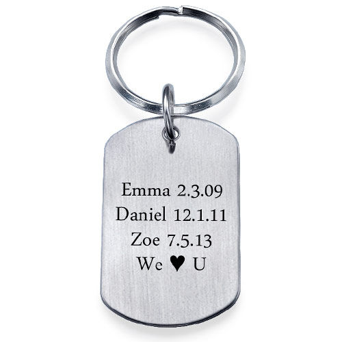 engraved dog tag key