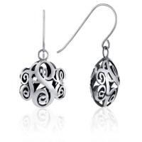 Contoured Monogram Dangle Earrings in Sterling Silver ...
