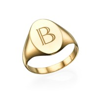 Initial Signet Ring - 18k Gold Plated | MyNameNecklace