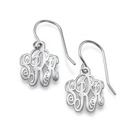 Monogrammed Earrings in Silver | MyNameNecklace