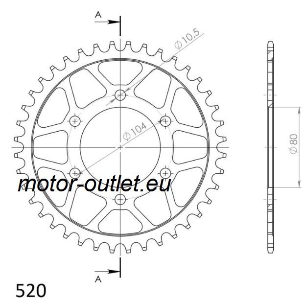 Kettingwiel (12a) Kawasaki Z750-1000 enz supersprox RFE